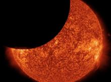 Partial solar eclipse on Jan. 30, 2014 as seen from space. NASA image.