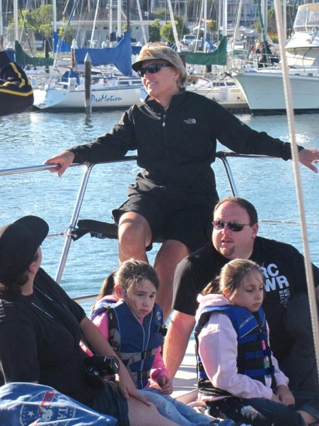 Passengers get ready to sail on the O'Neill catamaran. Photo by Michael Roberts.