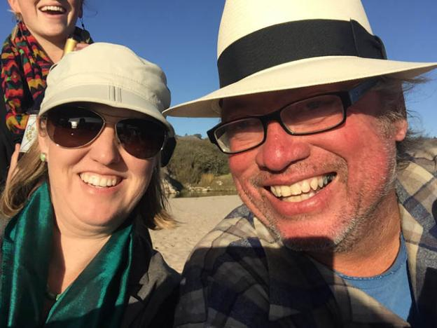 Jennifer Walker, who took this selfie and most of these photos, with Randy Clayton, our host. Randy, who keeps his draft horses at Wilder Ranch and gives carriage rides downtown every Christmas season, knows everyone on the North Coast.