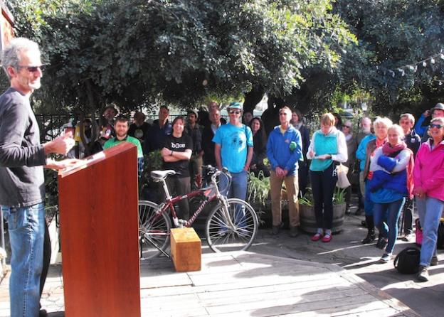 Piet Canin of Ecology Action addresses bike advocates gathered for the renaming of People Power. The new organization is called Bike Santa Cruz County.