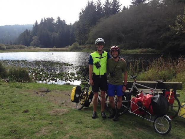 Feldstein and Condon geared up on their bike trip.