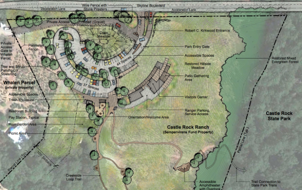 Plans for the new entrance area at Castle Rock State Park. It lies 800 feet northwest of the current park entrance. B