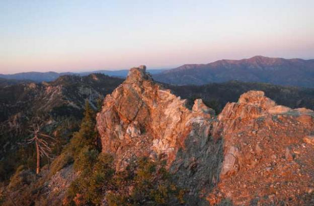 Looking back along the northern ridge of Cone Peak at sunset.