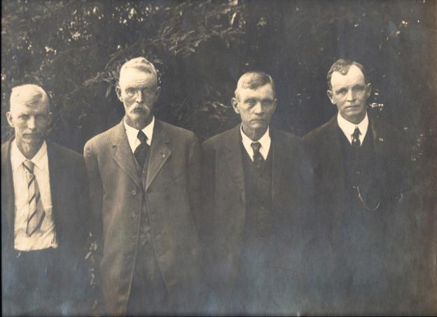 The four King brothers – David, James, Thomas and William. David was Greg King's great-grandfather. They logged and milled lumber in Sonoma County.  Photo courtesy Greg King.