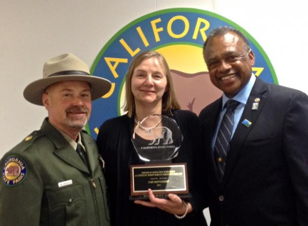 State Parks Sector Superintendent Kirk Lingenfelter, Bonny Hawley and State Parks Director Jackson.