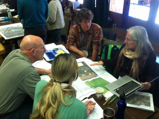 Brock Dolman (center) at the EcoFarm Conference.