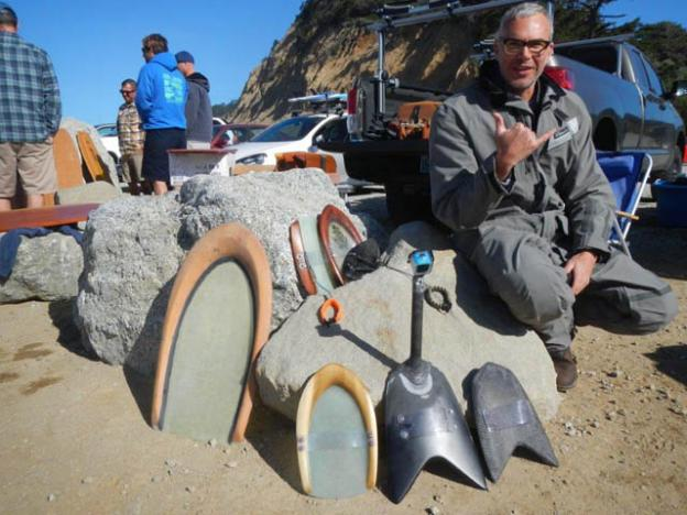 Mad genius Gary Hogue with his George Greenough-inspired designs at the Wild Coast Whomp .