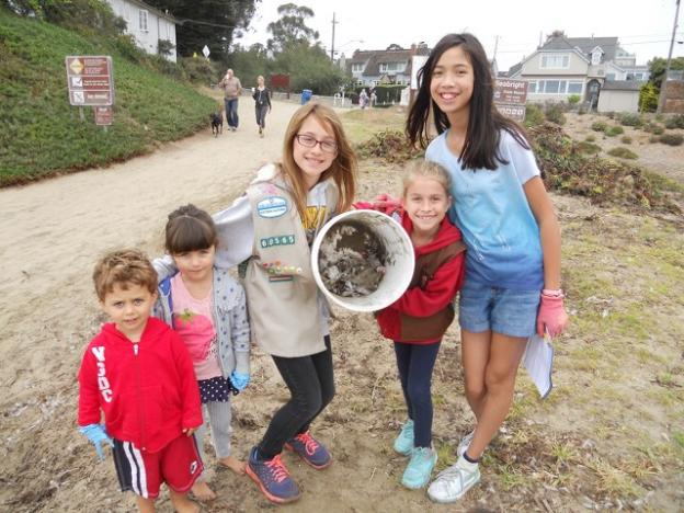 Girl Scouts San Jose pitched in to help clean up Seabright Beach at this year's Coastal Cleanup Day. Photo courtesy Save Our Shores.