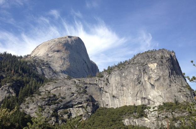 A short, steep saunter up the Mist Trail  leads to this less-famous vantage of Half Dome. Hilltromper photo.