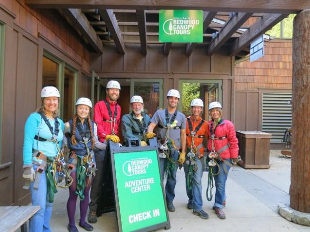 Seven Santa Cruz friends gathered on a November Monday afternoon to experience the Mt. Hermon's Redwood Canopy Tours. Karen Kefauver photo.
