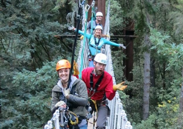 The swinging bridge is a fun and shaky passage from one towering redwood to another.  Karen Kefauver photo.