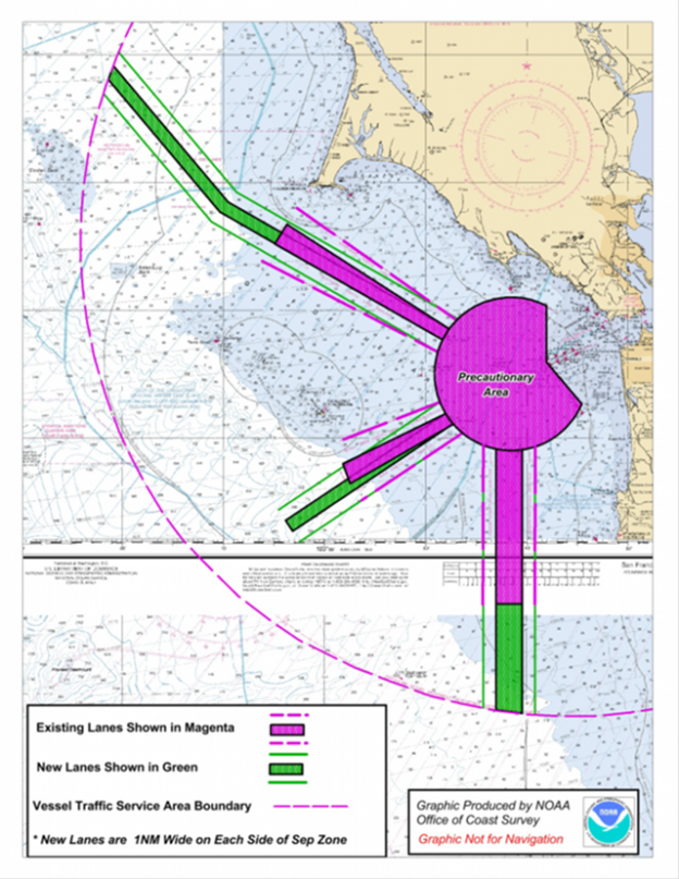 Map of proposed shipping lane extensions (in green) outside the San Francisco Bay.