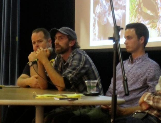 Panelists at the Forest Trails Talk Jan. 29. Left to right, Lono Barnes of Santa Cruz Fire Dept, Alex Jones of Campus Natural Reserve and Will Curtis, captain of the UCSC mountain biking team. Hilltromper photo.