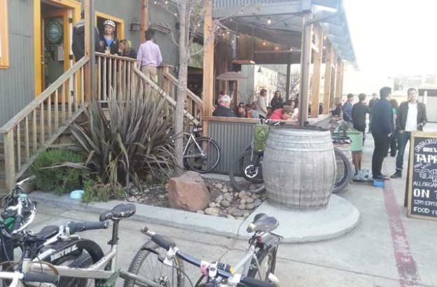 After the work and after the ride—MBoSC at Santa Cruz Mountain Brewing. Dave Robinson photo.