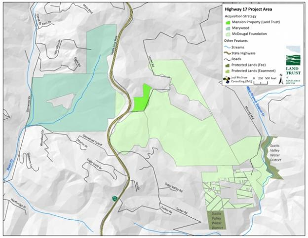 Wildlife crossing acquisition map courtesy Land Trust of Santa Cruz County.