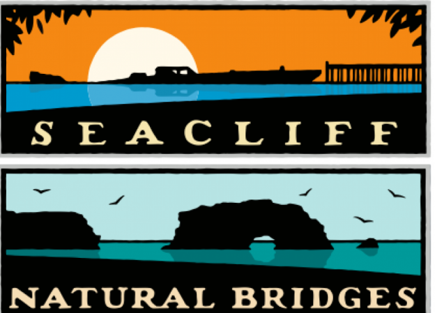 Schwab's iconic posters of Seacliff and Natural Bridges.