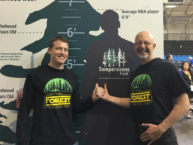 Mike Kahn, Sempervirens Fun's communications dude, with Board President (and Santa Cruz Warriors superfan) Fred Keeley. Photo courtesy Sempervirens Fund.