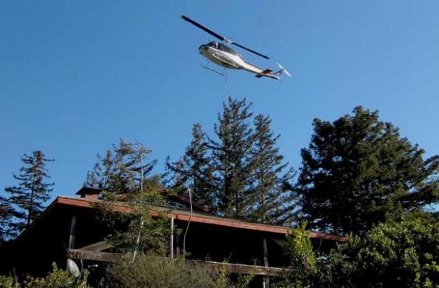 Dec. 22: PG&E helo over Trotter's house (our power pole is just behind the house).