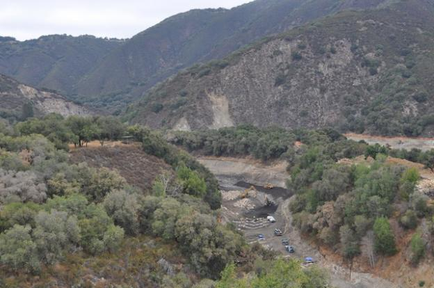 The San Clemente Dam Removal Project and Carmel River Reroute Project as viewed from a ridge bisecting the Carmel River and San Clemente Creek on Aug. 7, 2015.