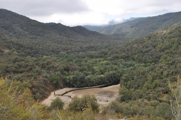 The view back up Carmel River's valley from a ridge bisecting the Carmel River and San Clemente Creek on Aug. 7, 2015.