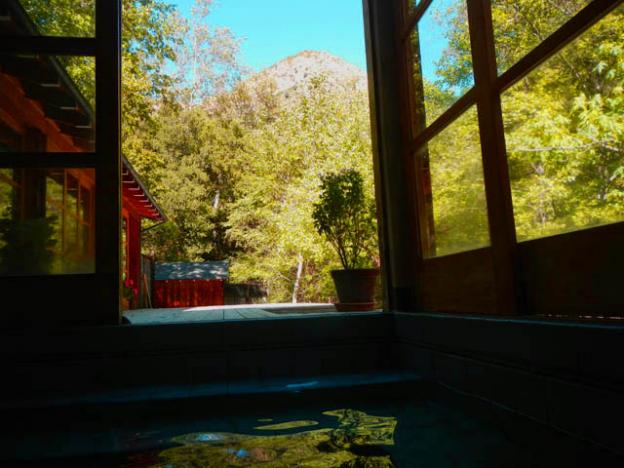 View from the bath house at the Tassajara Zen Mountain Center.