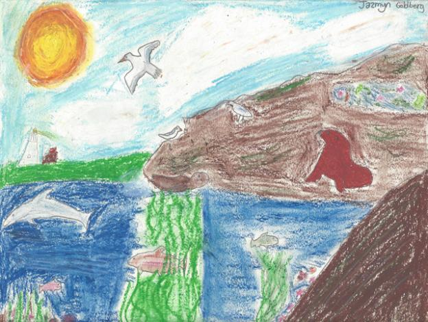 "Honorable mention: ""The Marine Cove"" by Jazmyn Goldberg, grade 5, Mar Vista Elementary"
