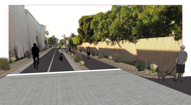 Rendering of bike and pedestrian trail on portion of corridor near 41st Avenue. Image courtesy Bud Colligan.