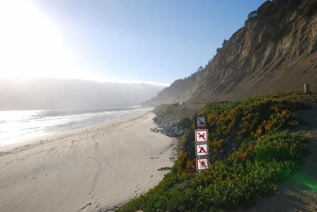 Steep bluffs to the north of the parking lot create a sense of grandeur. Joe Gomez photo.