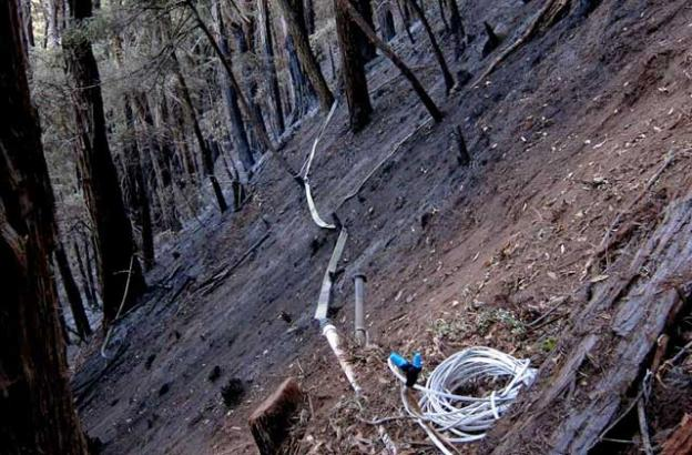 Jan. 2: Finally finished running replacement cable for the well signal line this morning. A hard haul across steep, ashy slope but it's done!