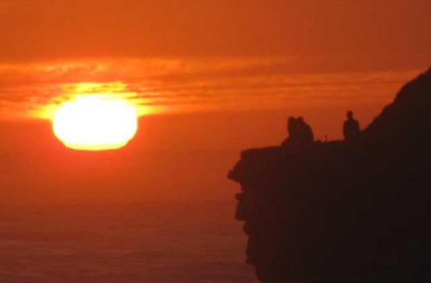 There are countless perches for sunset viewing on West Cliff.