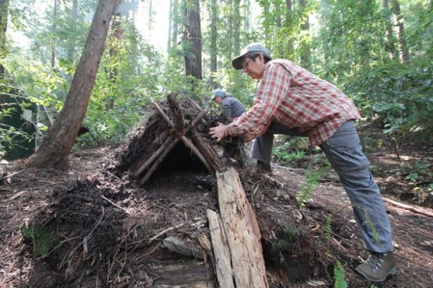 The rudiments of a debris shelter: sticks, leaves and elbow grease.