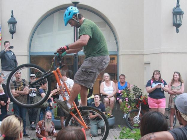 Matt Meyer performs feats of two-wheeled derring do at the MAH on Friday, May 1.