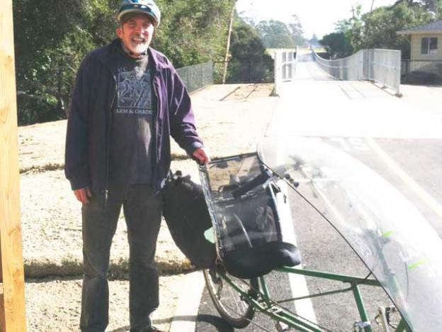 Ken Foster with his beloved recumbent bicycle.
