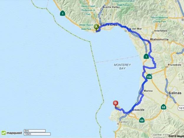 The 60 mile round trip from Santa Cruz to Pacific Grove.