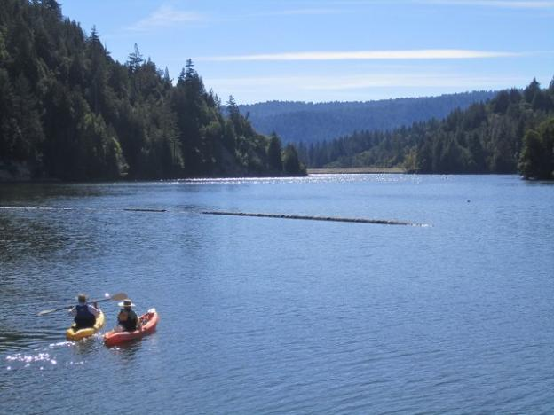 Kayakers set out from the dock on Loch Lomond in the Santa Cruz Mountains. Photo by Hilltromper.
