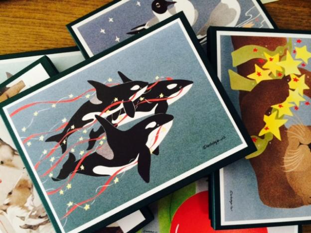 "Wondering how to say ""I live in a cooler place than you do and oh, Happy Holidays""? Let Crane Creek help with these awesome cards in orca, sea otter, fox, dolphin and assorted other flavors."