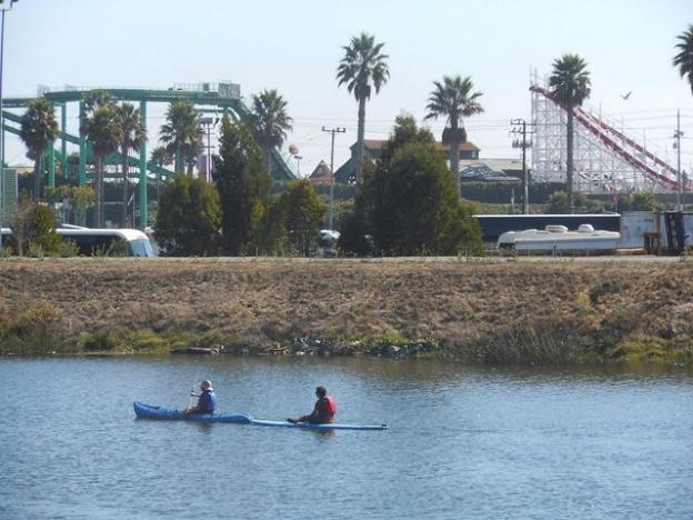 A new perspective on the Boardwalk on the Coastal Watershed Council's San Lorenzo River Paddle. Photo by Melissa Foley.