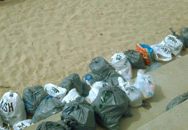 Trash bags collected from Main Beach on July 5. Hilltromper photo.
