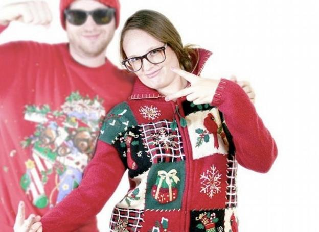 Don't forget Friday evening's Ugly Sweater Contest! They'll have a fabric artist on hand armed with appliques in case your Christmas sweater is too tasteful. UglySweaterShop.com photo.