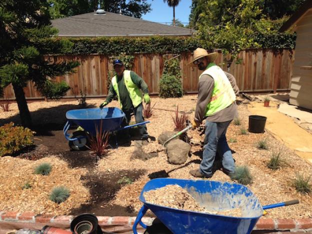ECI's landscape professionals hard at work on a private residence. Photo courtesy ECI.