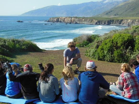 A BMG instructor and students suffer through another wilderness medicine lesson above Sand Dollar Beach in Big Sur. Photo courtesy BMG.