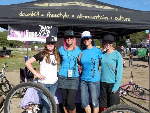 Ready to rock the women's Sugar Showdown in 2013 at the Santa Cruz Mountain Bike Festival are (l-r) Katelyn Praly, Kat Sweet, Tammy Donahugh and Lindsay Beth Currier of Shine Riders Co.