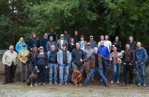 Some of the MBoSC trail-building crew up at the Soquel Demo Forest.
