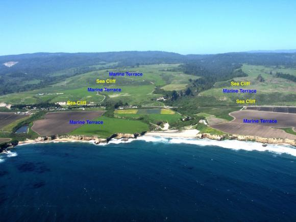 An aerial view reveals several marine terraces above Wilder Beach and in Wilder Ranch State Park. Photo by Gary Griggs.