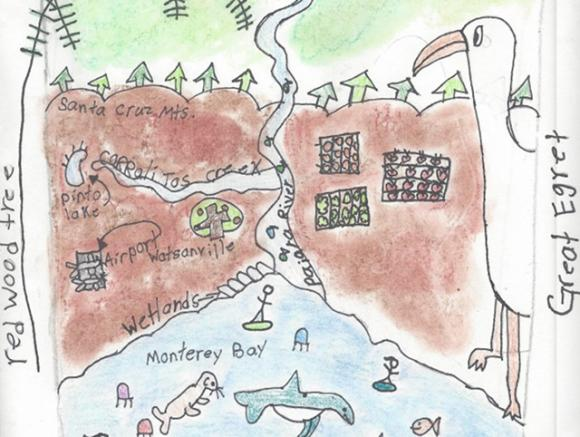 Detail from Brisa Arias's grand prize-winning depiction of the land-sea connection. Brisa is a fourth-grader at Mintie White in Watsonville.