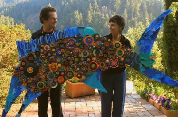Judith and Richard Lang have been turning beach trash into art for more than 20 years. They will be at the Sanctuary Exploration Center Wednesday evening.