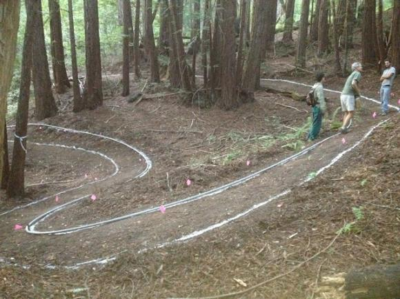 Mapping out a switchback on the Emma McCrary Trail. Photo courtesy MBoSC.