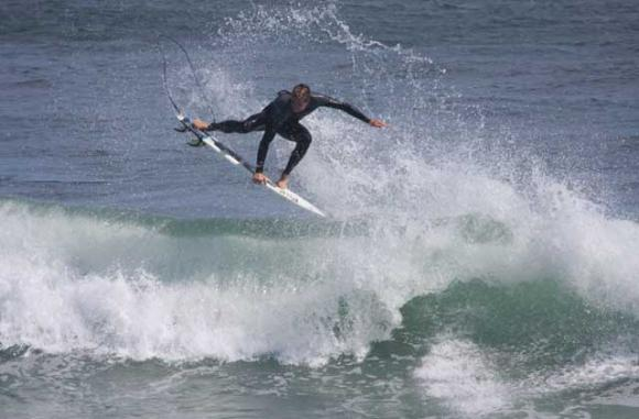 Shaun 'Burnsy' Burns getting some air at Steamer Lane. Mike Burns photo.