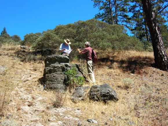 "Prof. emeritus Robert Garrison and historian Frank Perry next to the largest remaining ""Ruins"" chimney. Photo courtesy Hilde Schwartz."