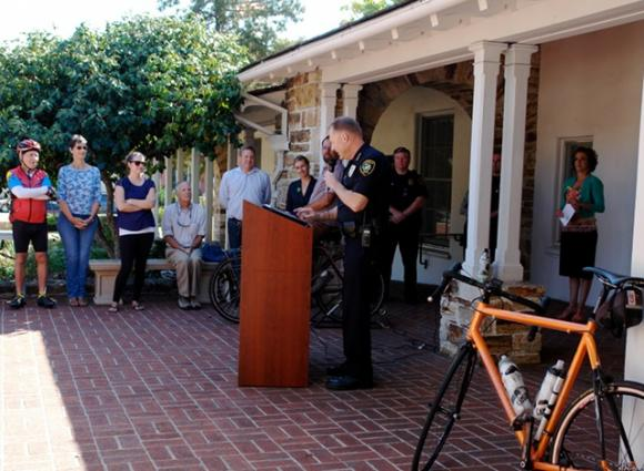 Scotts Valley Police Chief John Weiss addresses a crowd at City Hall about enforcing California's new Three Foot Law. Photo by Diane Terry.